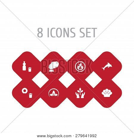 Set Of 8 Atmosphere Icons Set. Collection Of Eco, Seashell, Plastic And Other Elements.