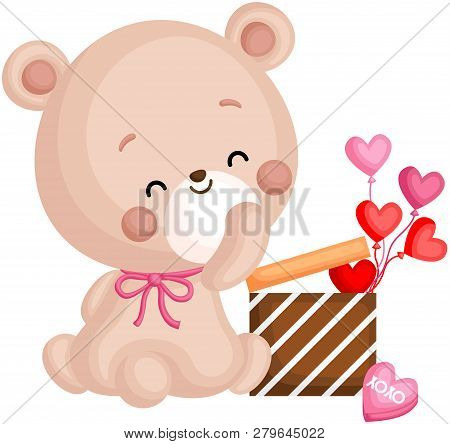 A Vector Of Cute Little Bear Holding Gift Box Full Of Heart Balloons