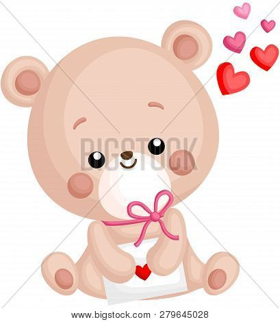 A Vector Of Cute Little Bear Holding Love Letter