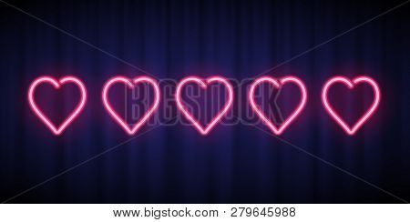 Five Pink Neon Hearts Rating Design Element Isolated On Blue Curtain Background. Vector Neon Heart S