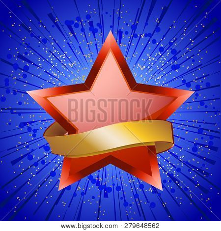 Red Star With 3d Details And Blank Golden Banner Over Blue Star Burst Background