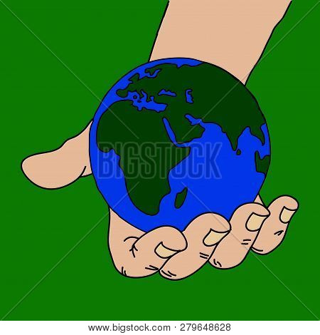 Hand Drawn Hand Holding Blue And Green Planet Earth Over Green Background