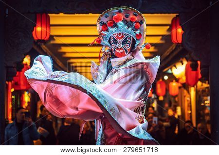 Chengdu, Sichuan Province, China - Jan 19, 2019: Chinese Actress Performs A Public Traditional Face-