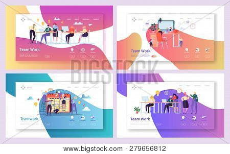 Office Teamwork Meeting Landing Page Set. Business People Work Together At Professional Workplace. F