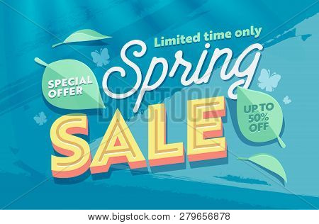 Spring Sale Green Natural Horizontal Banner Template. Promo Discount Season Offer Hot Price Poster.