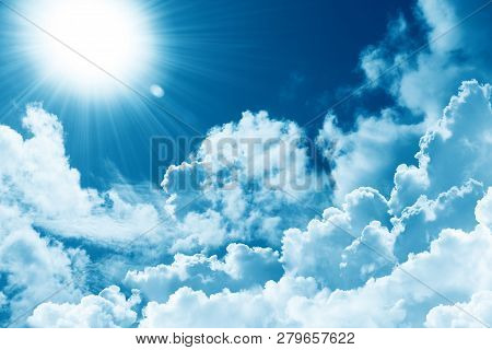 Beautiful Blue Sky White Cloud And Sunshine. Religion Concept Heavenly Background. Divine Heavenly L