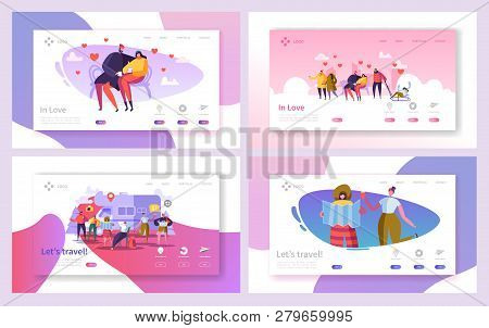 Love Couple Travel In Park Landing Page Set. Romantic People Dating On Bench Outdoor. Happy Hipster