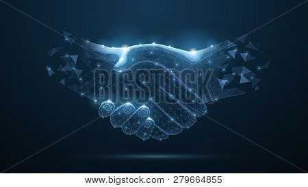 Abstract Handshake On Blue Vector Illustration Or Background