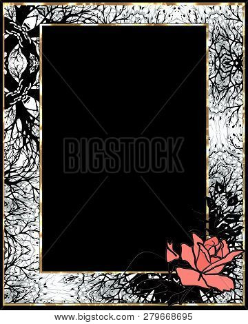Retro Vintage Frame Coral Rose Black White Background