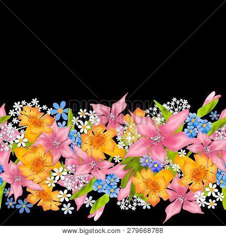 Seamless Border Flowers Floral Pattern Black Background