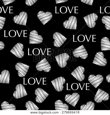 Seamless White Hearts Retro Valentines Day Black Pattern
