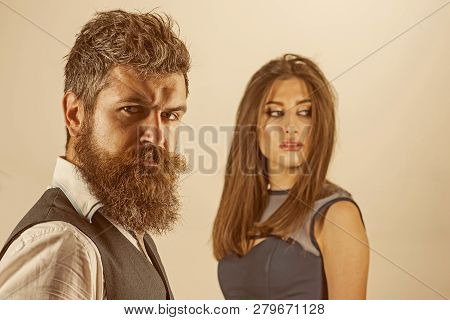 Stylish And Fashionable. Couple In Love. Married Family Couple. Bearded Man And Sensual Woman With F