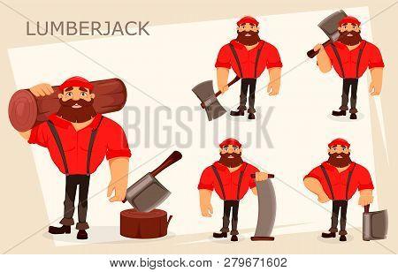 Lumberjack Cartoon Character, Set Of Five Poses. Handsome Logger. Vector Illustration On White Backg