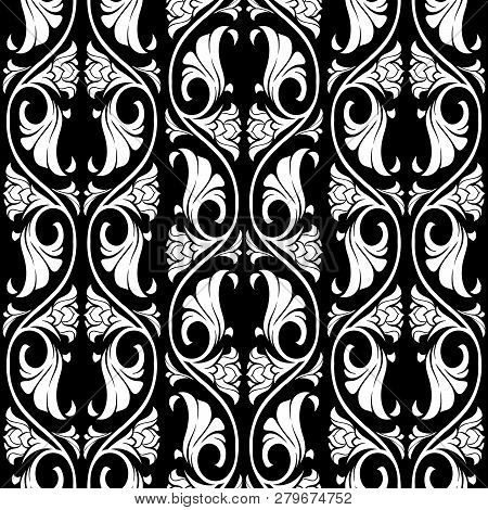 Gothic Floral Seamless Pattern. Vertical Rhythm. Popular Motiff In Medieval European Art. Element Fo