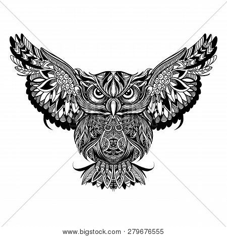 Owl With Open Wings And Claws ,zentangle Stylized Cartoon Eagle Owl, Isolated On White Background. H