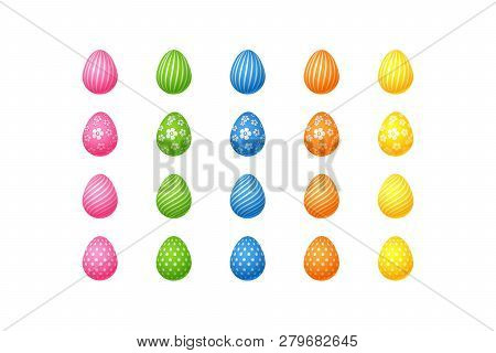Bright Colorful Easter Eggs Set Of Pink Blue Green Orange Yellow Eggs With Spiral Lines Specks Flowe