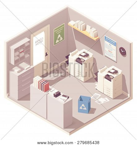 Vector Isometric Office Copy Room With Two Photocopiers Or Copy Machines, Filing Cabinet For Documen