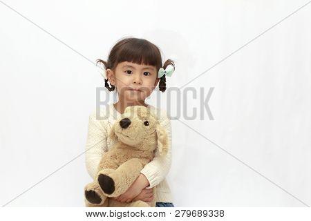 Japanese Girl Holding A Stuffed Dog (4 Years Old) (white Back)