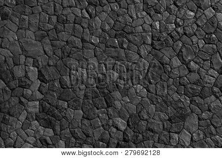 Rock Pattern Gray Color And Mos Plant Of Modern Style Design Decorative Uneven Cracked Real Stone Wa