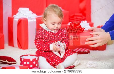 My First Christmas. Sharing Joy Of Baby First Christmas With Family. Baby First Christmas Once In Li