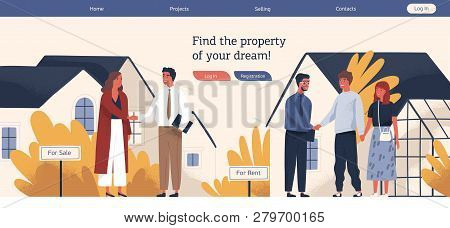 Web Banner Template With Real Estate Agent Or Broker Shaking Hands With People Buying Or Renting Hou