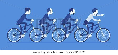 Male Business Tandem. Successful Businessmen Team Riding Together A Bicycle In Cooperation, Agreemen