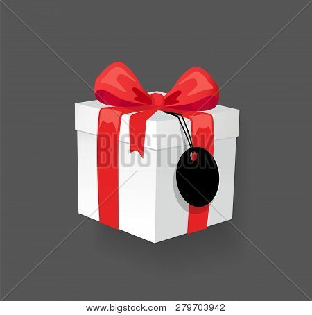 Gift Box With Decoration Ribbon, Bow And Price Vector. Isolated Icon Of Present Decorated With Tape