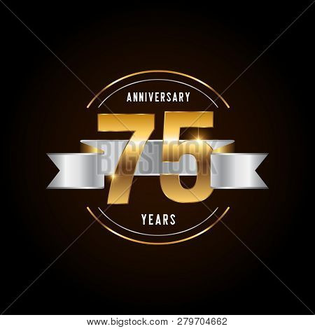 75 Years Anniversary Celebration Logotype. Golden Anniversary Emblem With Ribbon. Design For Booklet
