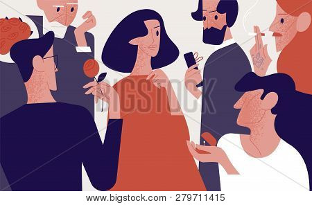 Beautiful Attractive Woman Surrounded By Old And Young Admirers Or Suitors Giving Her Gifts, Flowers