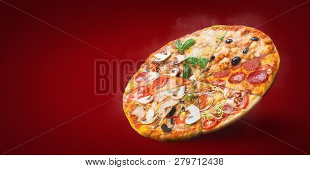 Hot Smoked Italian Round Pizza From Different Pizza Slices, Copy Space, Mockup. Pizza Menu Concept