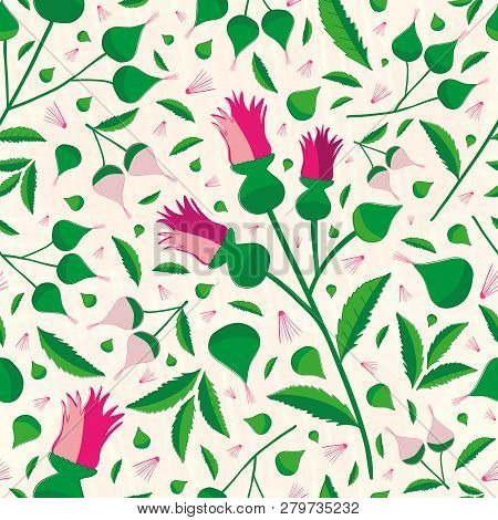 Elegant Vibrant Floral Pattern In Hues Of Pink And Green On A Soft Textured Background. Seamless Sop