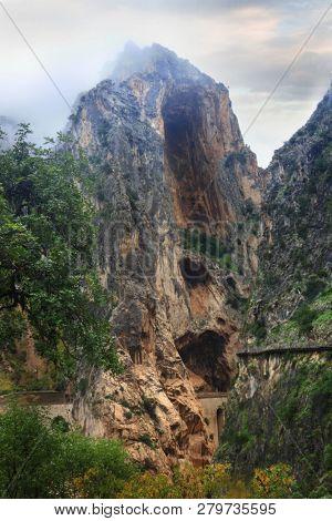 Famous mountain path El Caminito del Rey in El Chorro Spain
