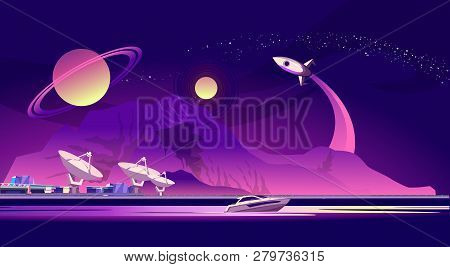 Vector Horizontal Illustration. Scientific Space Base On The Background Of Mountains, Another Planet