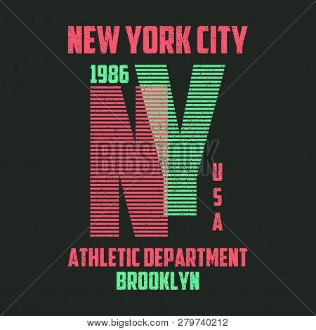 New York Typography For T-shirt. Brooklyn Modern Graphics For Tee Shirt With Lines. Slogan Ny For Tr