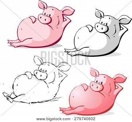 Cute Ping Pig Cartoon Vector Illustration Isolated On White
