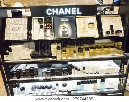 Paris, France - November Circa, 2018. Chanel Brand Luxury French Perfume In Duty Free Store Shelf. C