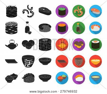 Sushi And Seasoning Black, Flat Icons In Set Collection For Design. Seafood Food, Accessory Vector S