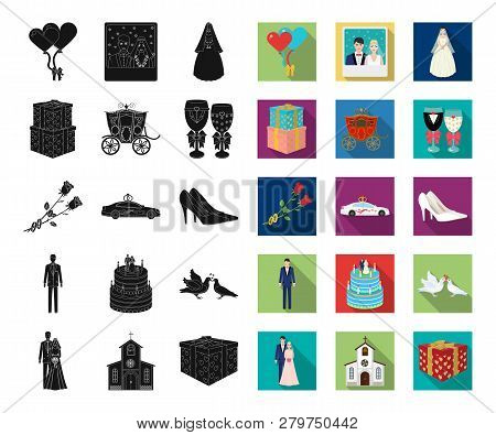 Wedding And Attributes Black, Flat Icons In Set Collection For Design. Newlyweds And Accessories Vec