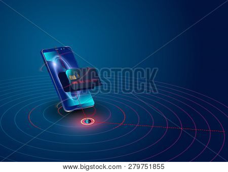 Isometric Mobile Phone And Internet Banking. Online Payment Security Transaction Via Credit Card. Pr