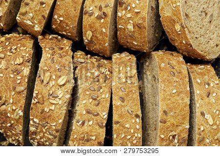 Slices Of Multigrain Bread Closeup , Top View