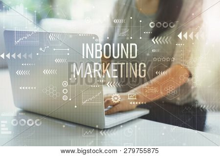 Inbound Marketing With Woman Using Her Laptop In Her Home Office