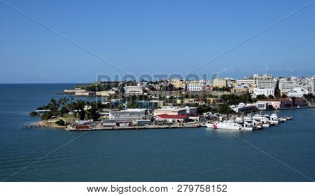 Coast Guard Station In San Juan Puerto Rico In The Caribbean. Boats At Rest