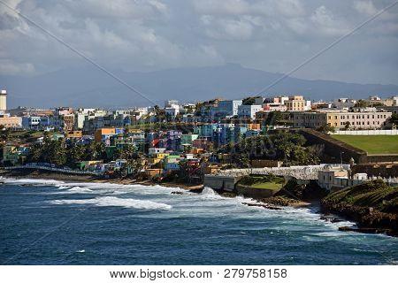San Juan Puerto Rico Waterfront Neighborhood And Sea Waves