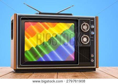 Gay Tv Concept, Tv Set On The Wooden Table. 3d Rendering