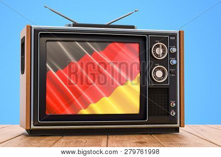 German Television Concept, Tv Set On The Wooden Table. 3d Rendering
