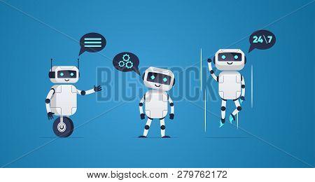 Cartoon Flat Helper Robots Characters Set. Friendly Mail Chatbot. Online Consultation.  Vector Illus