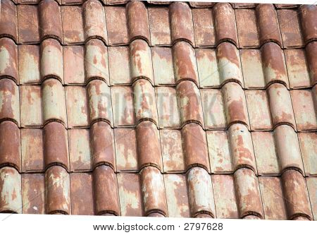 Background Of Antique Roof Tiles