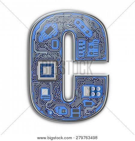Letter C.  Alphabet in circuit board style. Digital hi-tech letter isolated on white. 3d illustration