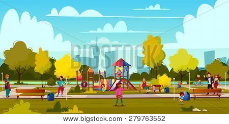 Vector Background Of Cartoon Playground In Park With People, Children Playing. Landscape With Green