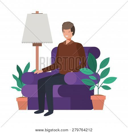 young man in the livingroom avatar character vector illustration desing poster
